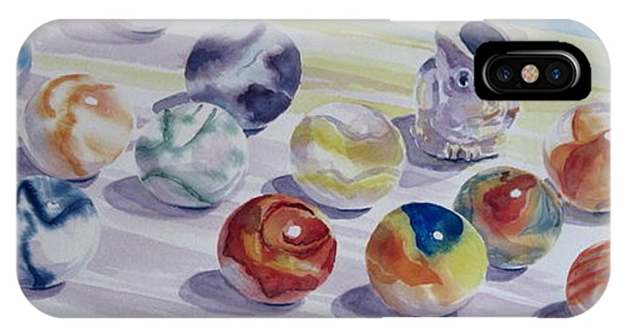 Glass IPhone X Case featuring the painting Watching Over My Marbles by Karen Boudreaux
