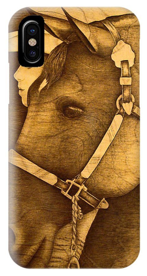 Pyrography;wood Burning; Horse; Western; Halter;cowboy; Hat; Rodeo; IPhone X Case featuring the pyrography Watching the Competition by Jo Schwartz