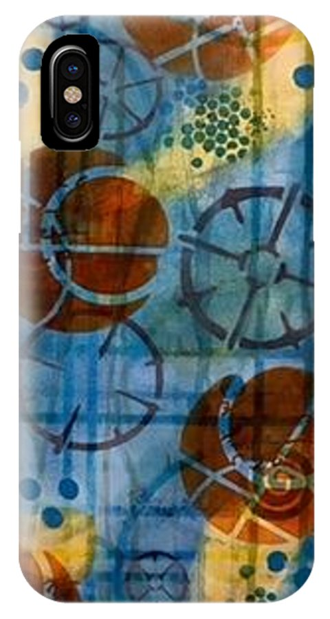 IPhone X Case featuring the mixed media Watching The Wheels by Dawn Wenzl