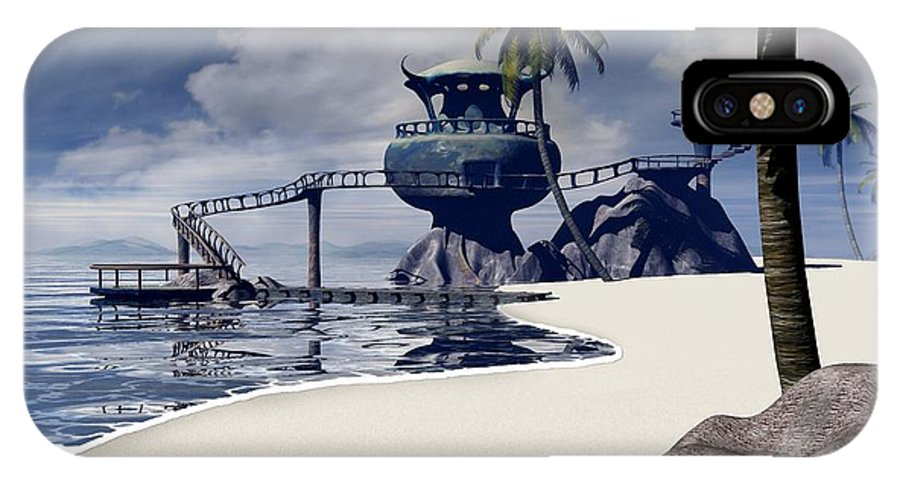 Surreal IPhone X Case featuring the digital art Watchtower Beach by Cynthia Decker