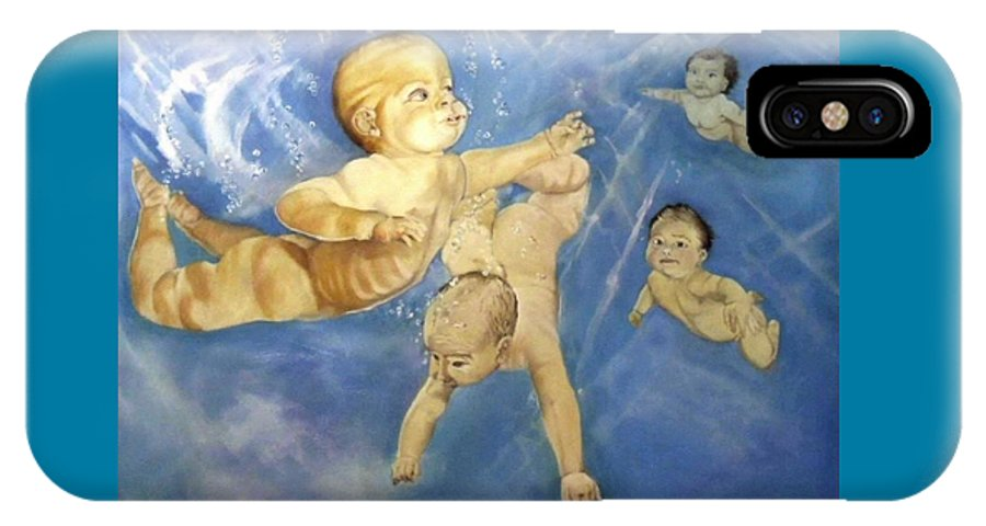 Babies IPhone Case featuring the painting Water Babies by Jane Simpson