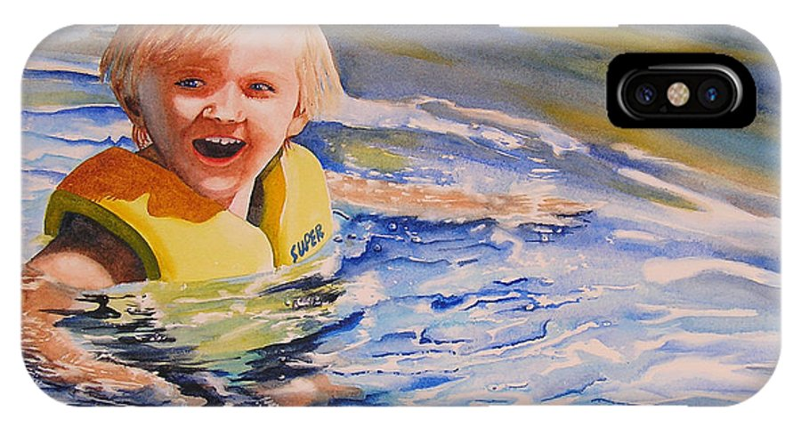 Swimming IPhone X Case featuring the painting Water Baby by Karen Stark