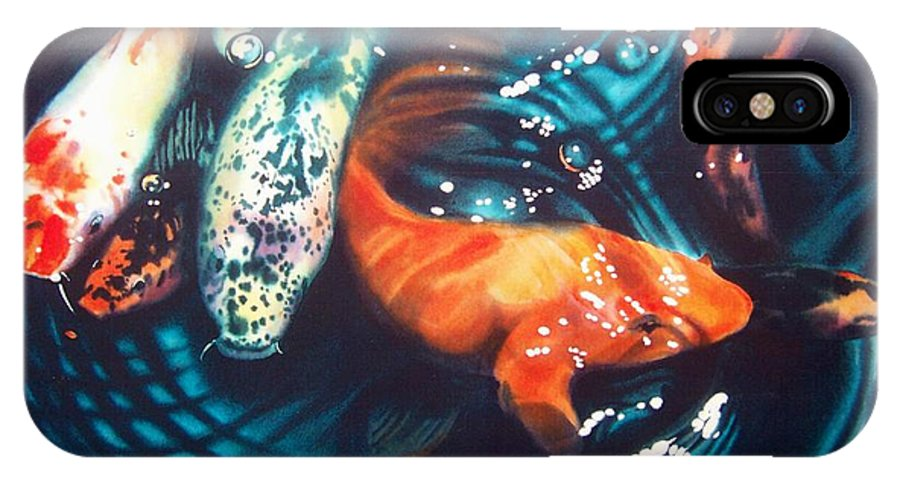 Koi IPhone X Case featuring the painting Water Ballet by Denny Bond
