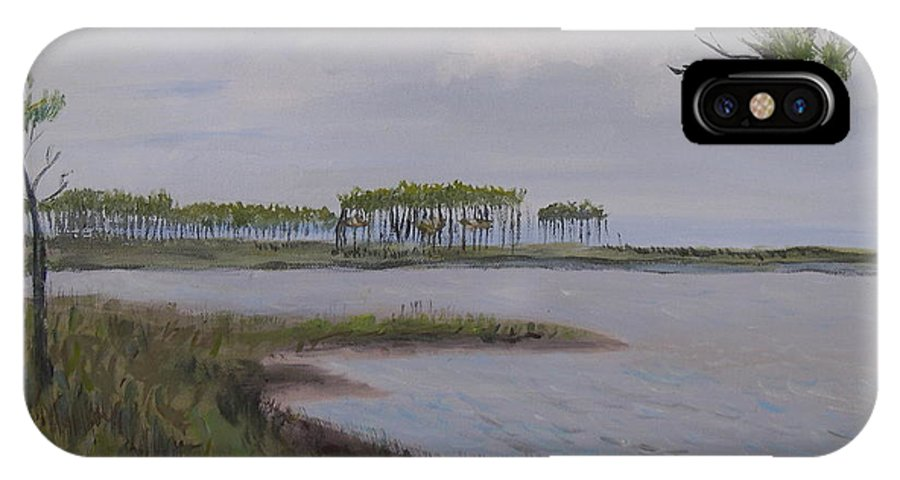 Landscape Beach Coast Tree Water IPhone Case featuring the painting Water Color by Patricia Caldwell