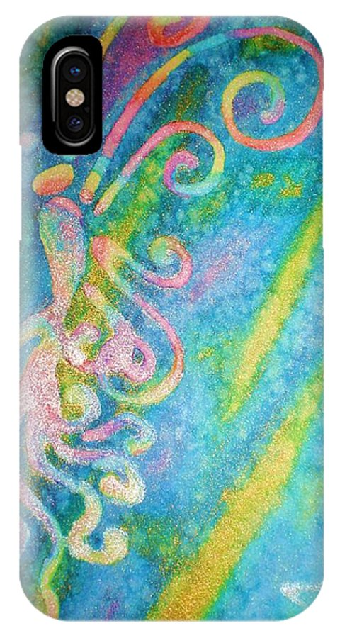 Rainbow IPhone X Case featuring the painting Water Fairy by Chandelle Hazen