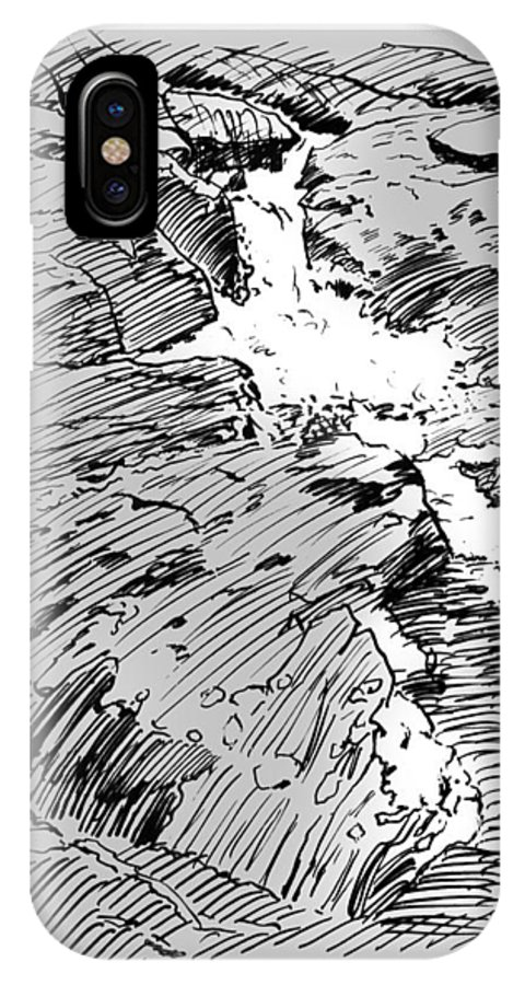 Water Fall IPhone X Case featuring the drawing Water Fall Rocky Mountains by John Lautermilch
