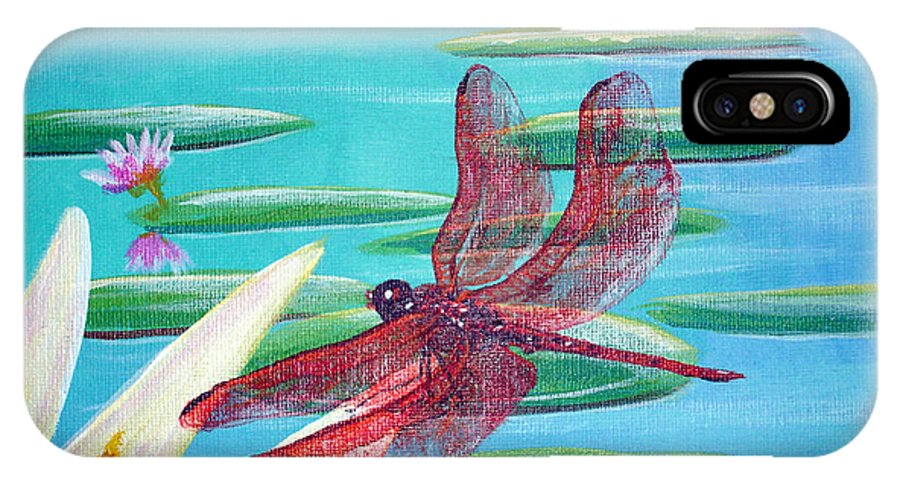 Water IPhone Case featuring the painting Water Lilies And Dragonfly by Susan Kubes