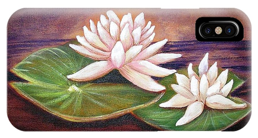 Water Lilies IPhone X Case featuring the painting Water Lilies by Patricia Piffath