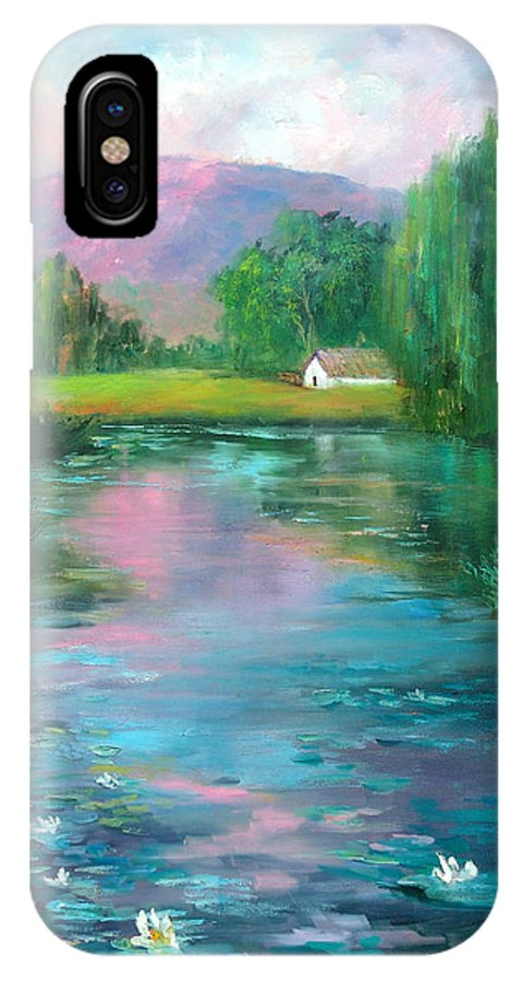 Lillies IPhone X Case featuring the painting Water Lillies by Sally Seago