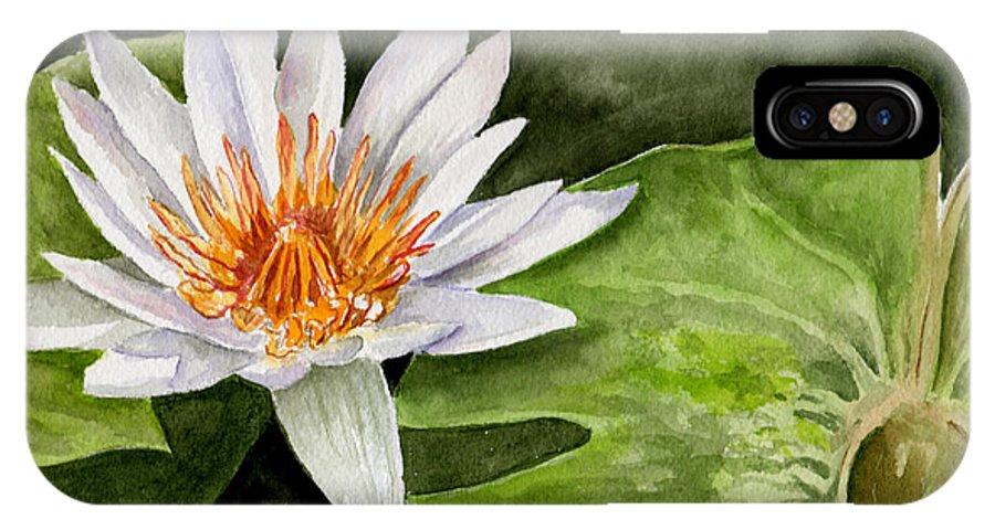 Flower Floral Water Lily Watercolor IPhone X Case featuring the painting Water Lily by Brenda Owen