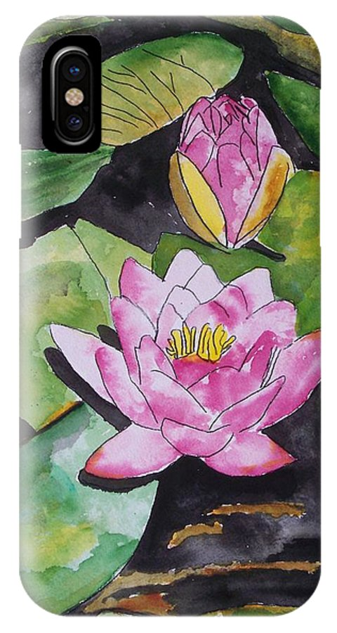 Water Lily IPhone X Case featuring the painting Water Lily by Derek Mccrea