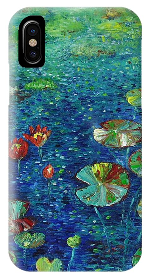 Lotus Paintings IPhone X Case featuring the painting Water Lily Lotus Lily Pads Paintings by Seon-Jeong Kim