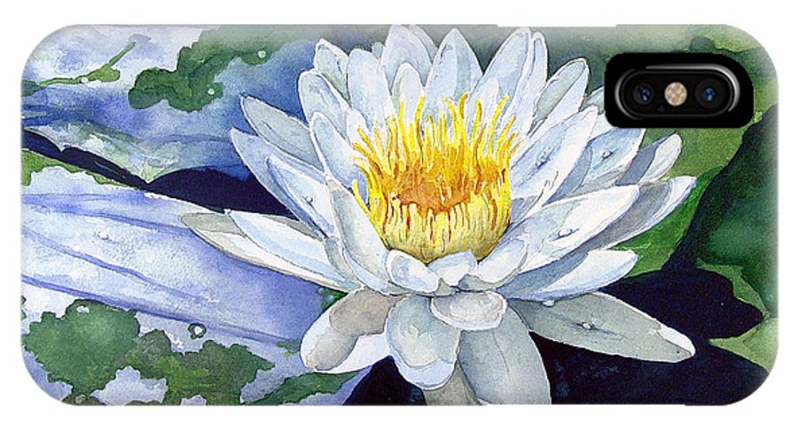 Flower IPhone X Case featuring the painting Water Lily by Sam Sidders