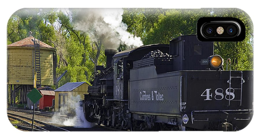 Cumbres & Toltec IPhone X Case featuring the photograph Water Tank And Steam Engine by Tim Mulina