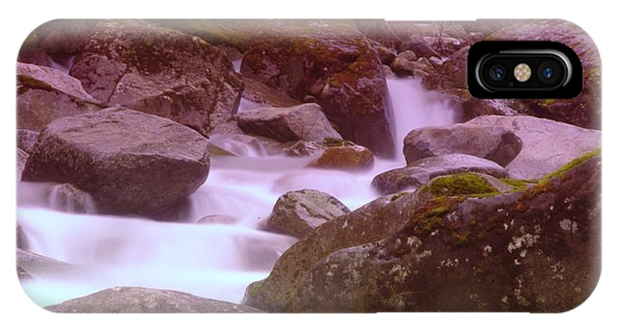 Water IPhone X Case featuring the photograph Water Winding Through Rocks by Jeff Swan