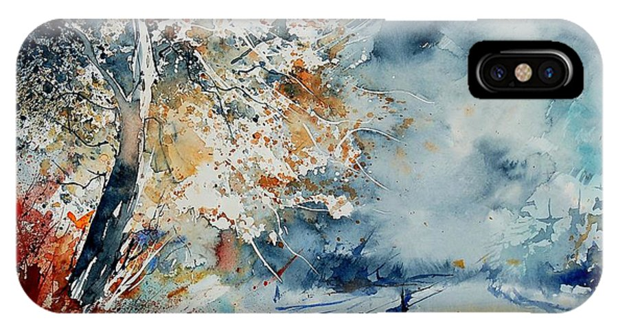 Landscape IPhone X Case featuring the painting Watercolo 2407063 by Pol Ledent