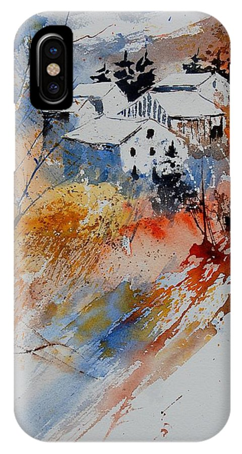 Landscape IPhone X Case featuring the painting Watercolor 011012 by Pol Ledent