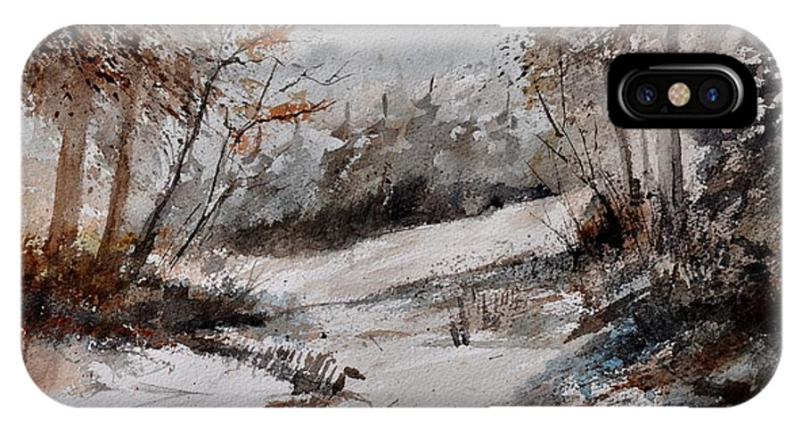 Landscape IPhone X Case featuring the painting Watercolor 017051 by Pol Ledent