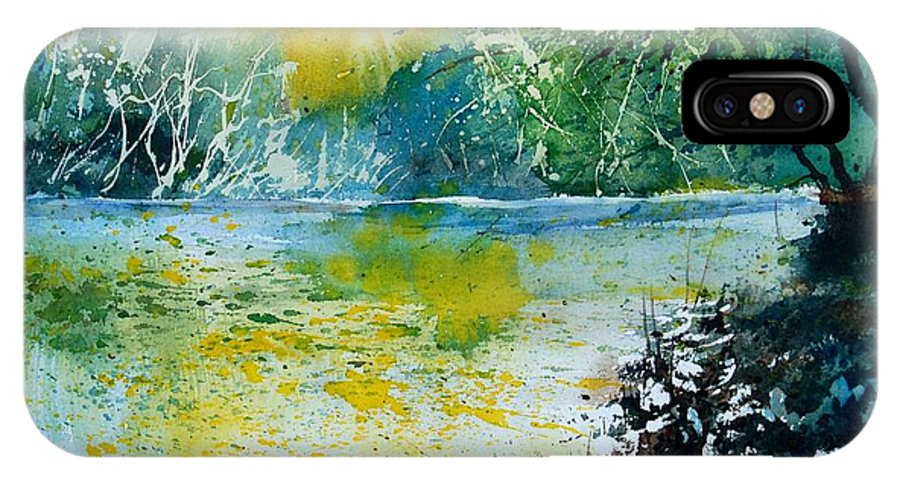 Pond IPhone X Case featuring the painting Watercolor 051108 by Pol Ledent