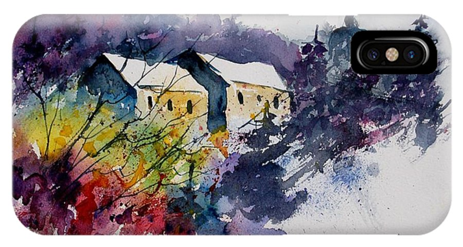 River IPhone X Case featuring the painting Watercolor 231207 by Pol Ledent