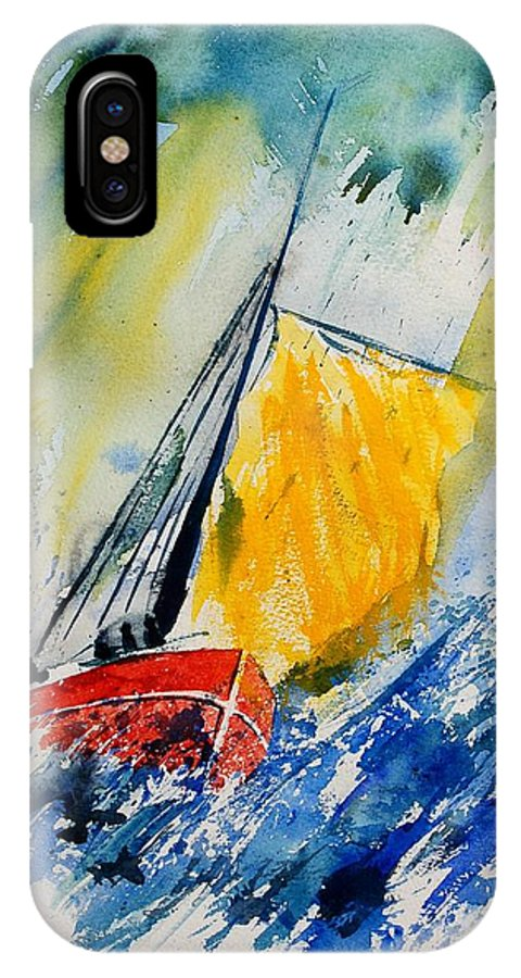 Sea Waves Ocean Boat Sailing IPhone X Case featuring the painting Watercolor 280308 by Pol Ledent