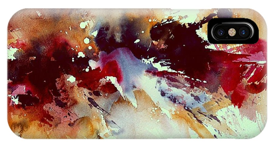Abstract IPhone X Case featuring the painting Watercolor 301107 by Pol Ledent