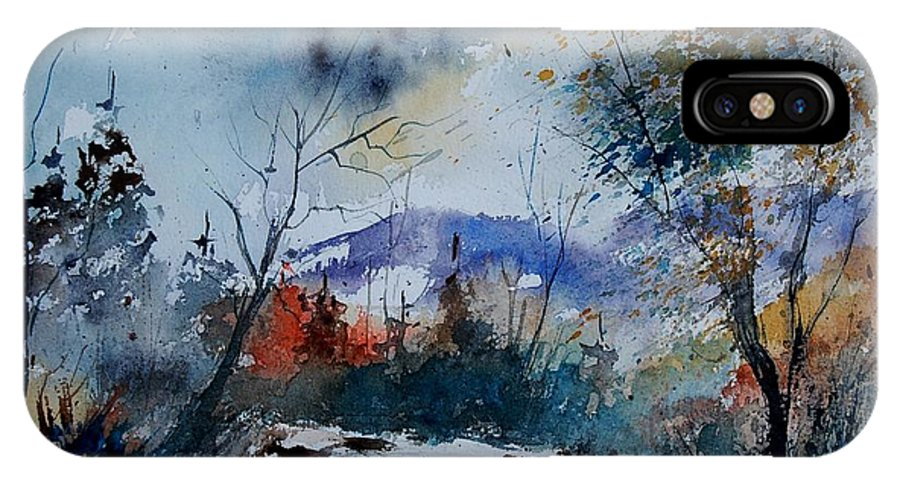 Landscape IPhone X Case featuring the painting Watercolor 802120 by Pol Ledent