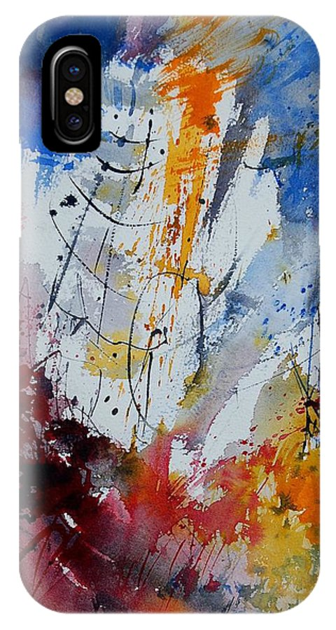 Abstract IPhone X Case featuring the painting Watercolor 901120 by Pol Ledent