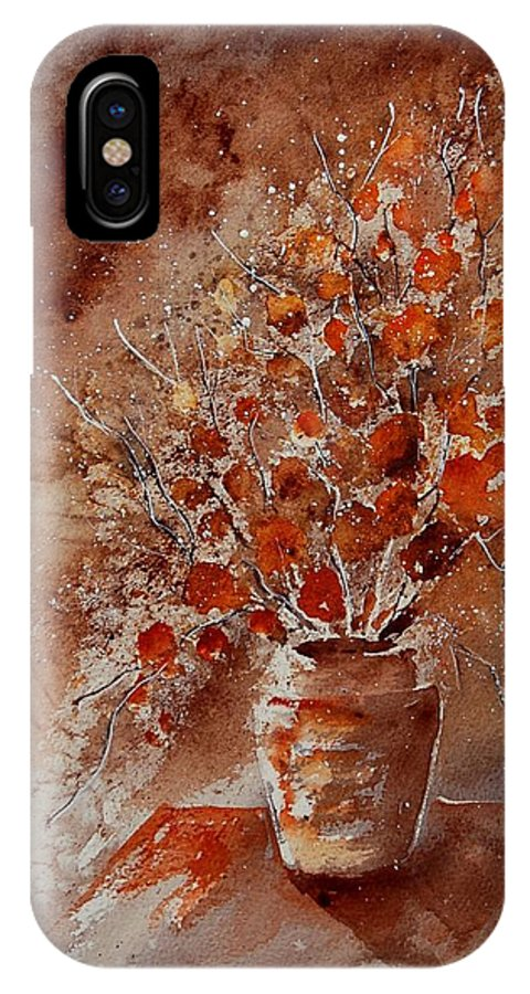 Poppies IPhone X Case featuring the painting Watercolor Autumn Bunch by Pol Ledent