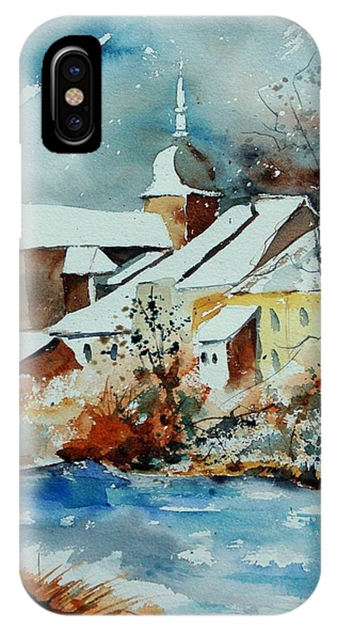 Landscape IPhone X / XS Case featuring the painting Watercolor Chassepierre by Pol Ledent