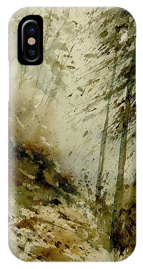 Landscape IPhone Case featuring the painting Watercolor Misty Atmosphere by Pol Ledent