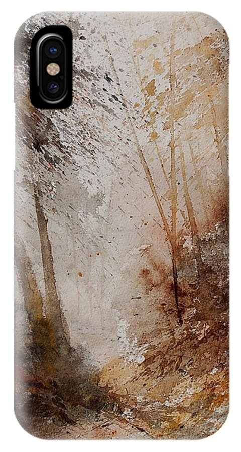 Landscape IPhone X Case featuring the painting Watercolor Misty Path by Pol Ledent