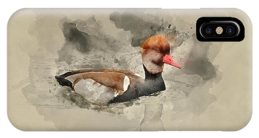 Red Crested Pochard IPhone X Case featuring the photograph Watercolor Painting Of Beautiful Portrait Of Red Crested Pochard by Matthew Gibson
