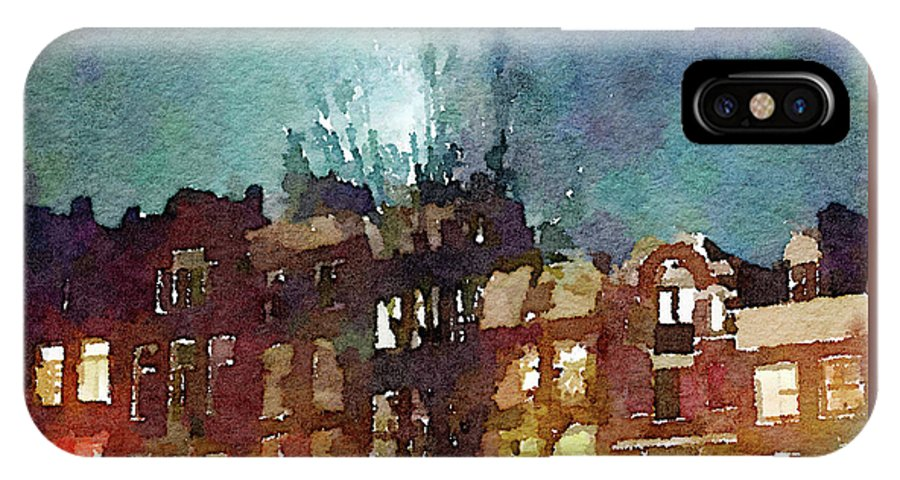 House IPhone X Case featuring the photograph Watercolor Painting Of Spooky Houses At Night by Anita Van Den Broek