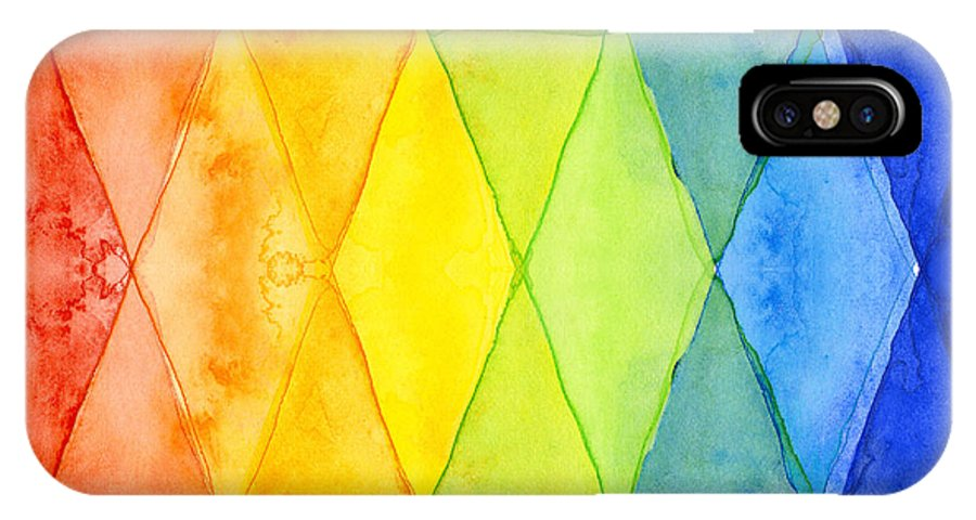 Triangles IPhone X Case featuring the painting Watercolor Rainbow Pattern Geometric Shapes Triangles by Olga Shvartsur
