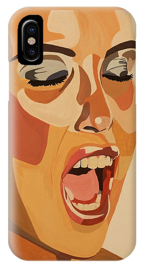 Woman IPhone X Case featuring the painting Watercolor Scream by Michelle Miron-Rebbe
