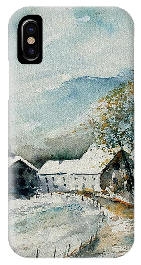 River IPhone X Case featuring the painting Watercolor Sechery 1207 by Pol Ledent