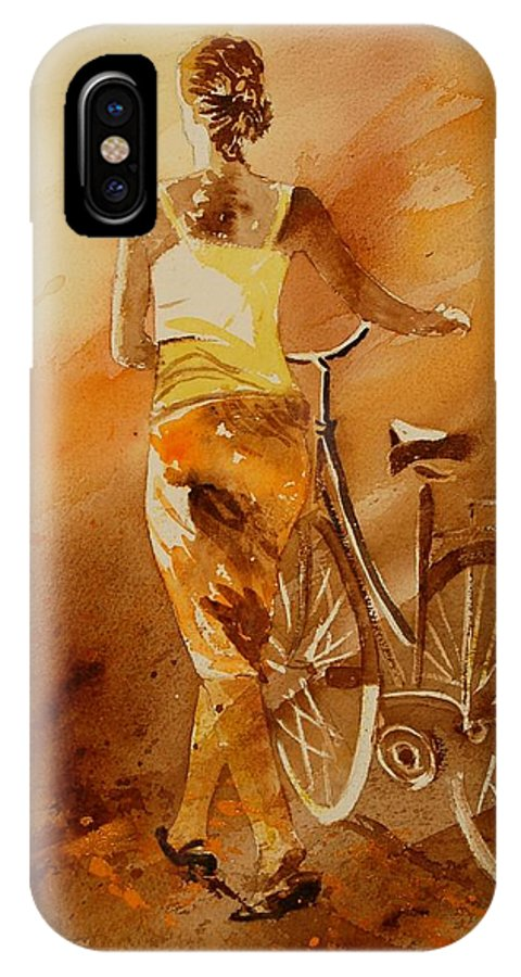 Figurative IPhone X Case featuring the painting Watercolor With My Bike by Pol Ledent