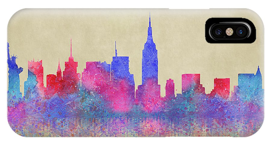 Watercolour IPhone X Case featuring the digital art Watercolour Splashes New York City Skylines by Georgeta Blanaru