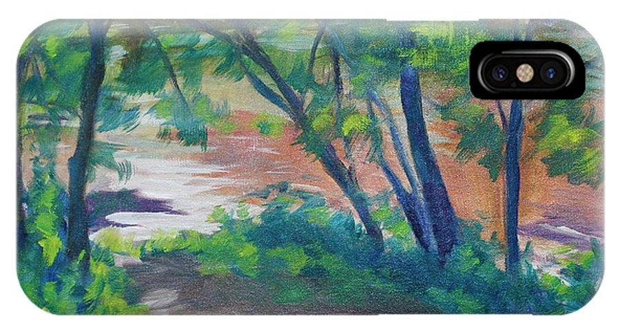 Landscape IPhone X Case featuring the painting Watercress Beach On The Current River  by Jan Bennicoff