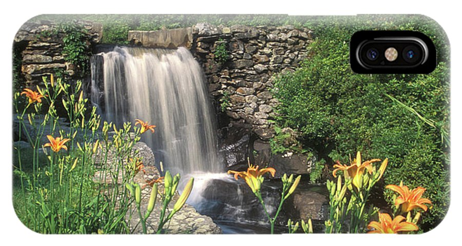 Waterfall IPhone X Case featuring the photograph Waterfall And Lilies Moore State Park by John Burk