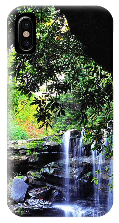 Mccoy Falls IPhone X Case featuring the photograph Waterfall And Rhododendron by Thomas R Fletcher