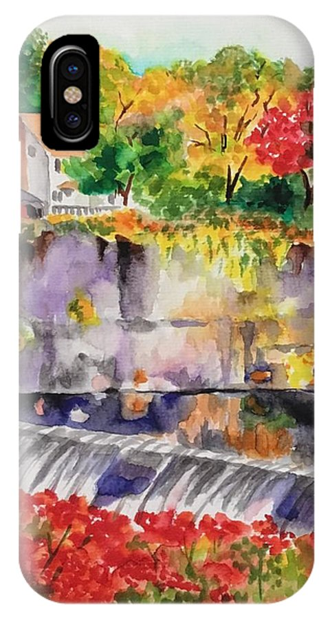 Vibrant Colors. Waterfall IPhone X Case featuring the painting Waterfall at the Old Saugerties Mill by Judy Swerlick