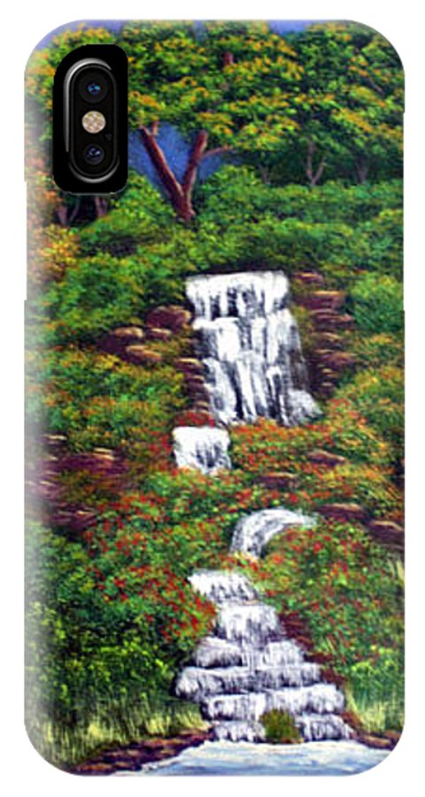 Waterfall IPhone X Case featuring the painting Waterfall by Dawn Blair