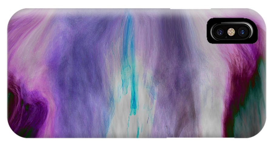 Abstract Art IPhone X Case featuring the digital art Waterfall by Linda Sannuti