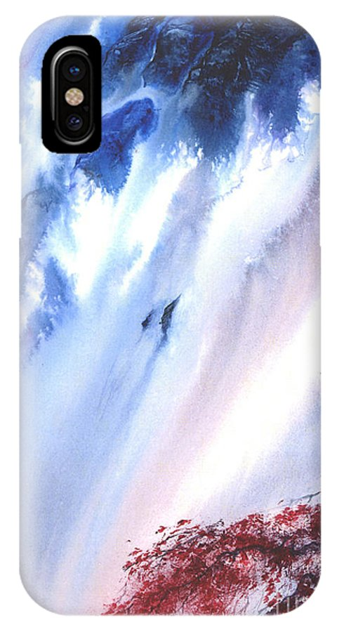 A Waterfall- A Watercolor Painting IPhone X Case featuring the painting Waterfall by Mui-Joo Wee