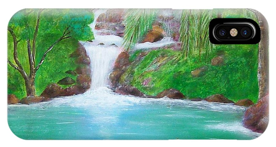Waterfall IPhone X Case featuring the painting Waterfall by Tony Rodriguez