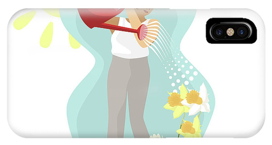 Tulips IPhone X Case featuring the digital art Watering Plants by Claire Huntley