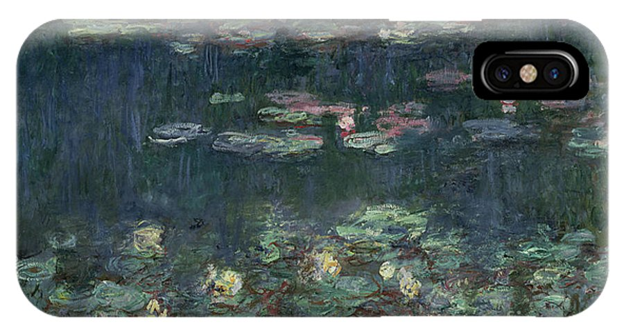 Monet IPhone X Case featuring the painting Waterlilies Green Reflections by Claude Monet