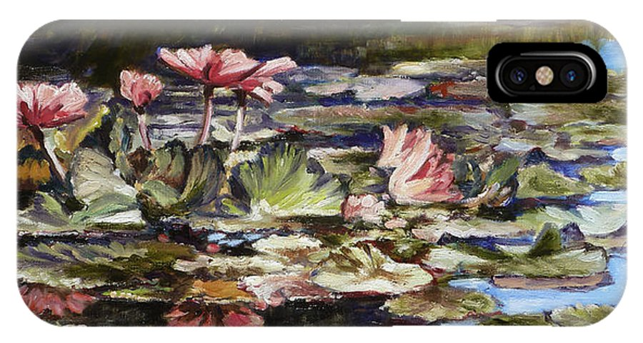 Waterlilies IPhone X Case featuring the painting Waterlilies Tower Grove Park by Irek Szelag